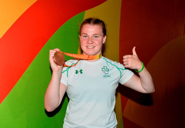 The Charleville, Co. Cork, thrower made herself and her family proud by chucking her way on to the podium with a best effort of 31.71m in the F38 discus. Photo by Diarmuid Greene/Sportsfile