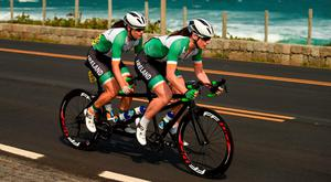 Ireland's Katie-George Dunlevy, along with her pilot Eve McCrystal, in action during the Women's B Road Race in which they finished second. Photo by Diarmuid Greene/Sportsfile