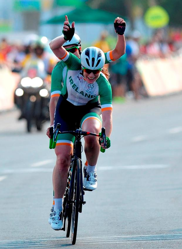 The duo on their way to finishing second in the Women's B Road Race. Photo by Jean-Baptiste Benavent/Sportsfile
