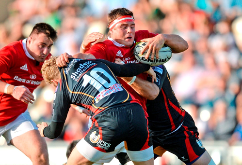 Munster's CJ Stander goes into contact against Newport Gwent Dragons' Angus O'Brien during Saturday's Pro12 clash. Photo by Ben Evans/Sportsfile