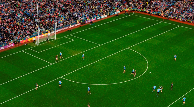 A spectacular aerial view of Mayo's Cillian O'Connor kicking the equalising point in yesterday's All-Ireland final. Photo: Stephen McCarthy/Sportsfile