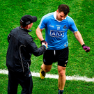 Kevin McManamon shakes hands with Dublin manager Jim Gavin after being replaced by Paul Mannion. Photo: Daire Brennan/Sportsfile