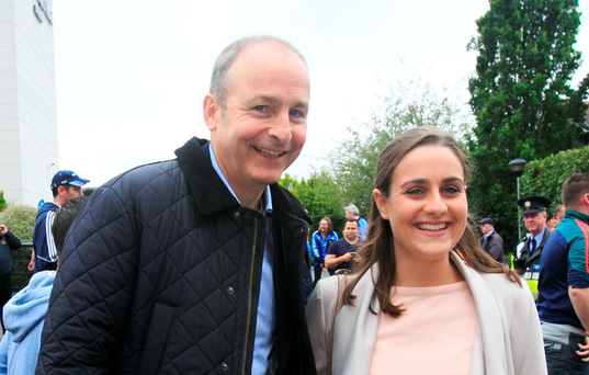 Fianna Fáil's leader Micheál Martin with his daughter Aoibhe at Croke Park yesterday Photo: Gareth Chaney/Collins
