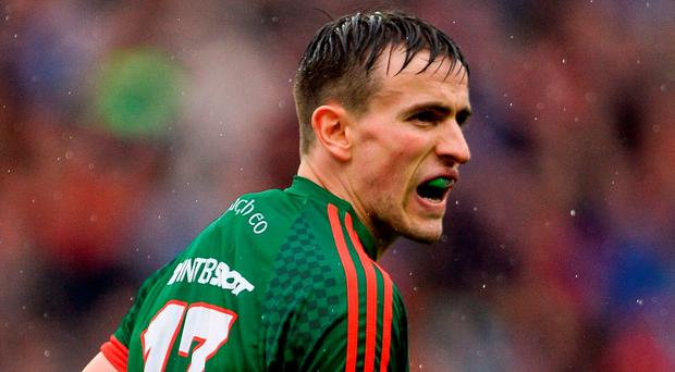 Mayo's Jason Doherty of Mayo reacts after scoring a point. Photo: Seb Daly/Sportsfile