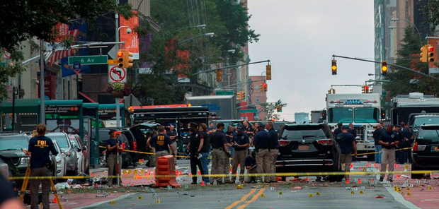 The scene of the explosion Photo: BRYAN R. SMITH/AFP/Getty Images