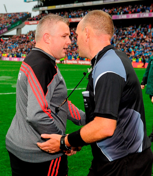 Mayo manager Stephen Rochford shakes hands with referee Conor Lane after yesterday's drawn All-Ireland SFC final. Photo: Seb Daly/Sportsfile