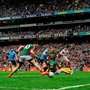 The shot of Dublin's Bernard Brogan deflects off the foot of Mayo's Kevin McLoughlin for Dublin's opening goal in yesterday's All-Ireland SFC final. Photo: David Maher/Sportsfile