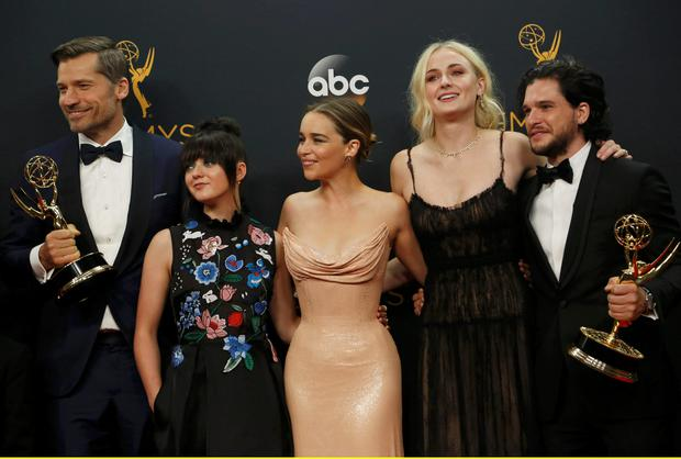 Nikolaj Coster-Waldau (L), Maisie Williams, Emilia Clarke, Sophie Turner and Kit Harrington of HBO's