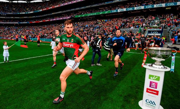 Aidan O'Shea of Mayo runs out onto the pitch ahead of the GAA Football All-Ireland Senior Championship Final match between Dublin and Mayo at Croke Park in Dublin. Photo by Stephen McCarthy/Sportsfile