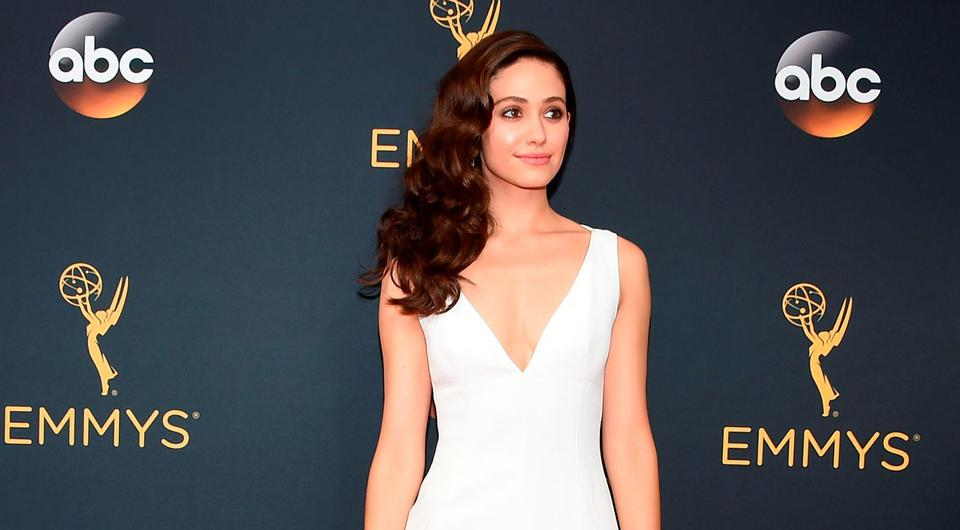 Actress Emmy Rossum arrives for the 68th Emmy Awards