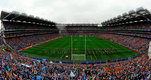 A general view of Croke Park stadium during the parade before the GAA Football All-Ireland Senior Championship Final match between Dublin and Mayo at Croke Park in Dublin. Photo by Stephen McCarthy/Sportsfile
