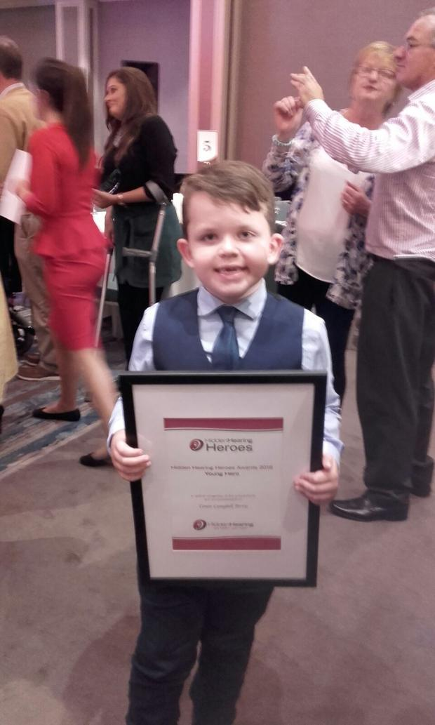 Conor attended a ceremony in Dublin where he was awarded a Hidden Hearing Hero award