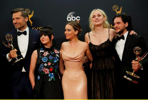 Nikolaj Coster-Waldau (left), Maisie Williams, Emilia Clarke, Sophie Turner and Kit Harrington of HBO's