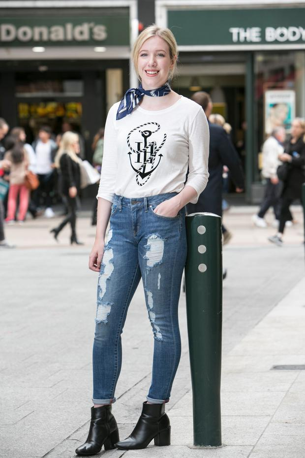 a0c6019ce8877 Amy Mulvaney wearing the cotton tee (€59.90) and Venice skinny jeans (€189)  from the Tommy x Gigi collection.