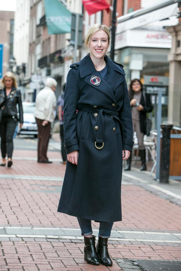 9b52636b10b65 Amy Mulvaney wearing the long military wool coat (€399) from the Tommy x  Gigi collection.