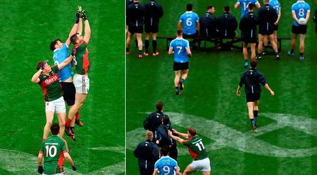 Dublin and Mayo players were involved in a pre-match scuffle in Croke Park