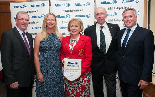 The K Club Team: (from left) Liam Kelly, golf editor of the Irish Independent, Carol Barry, vice-captain, Angela Cirillo, lady captain, Tom Kelly, captain, and Sean McGrath, CEO of Allianz. Photos: Ronan Quinlan