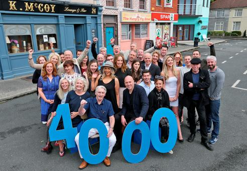The cast of RTÉ's 'Fair City' on the set of the show to celebrate the 4,000th episode Photo: Colin Keegan