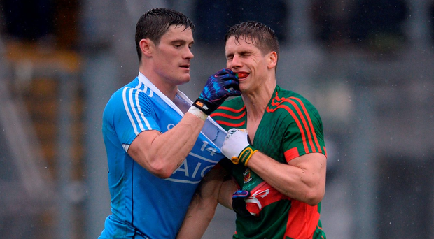 Diarmuid Connolly and Lee Keegan engage in one of their many clashes during Sunday's All-Ireland final. Photo: Piaras Ó Mídheach/Sportsfile