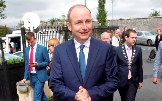 Micheál Martin arrives at the Fianna Fáil think-in yesterday Picture: Conor McCabe