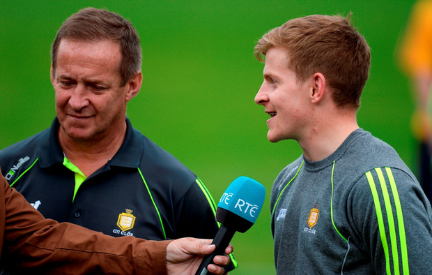 Clare manager Colm Collins (left) insists he will let his son Podge decide whether he wants to concentrate on football or hurling next season. Photo: Brendan Moran/Sportsfile