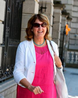 Former Tánaiste Joan Burton: said she was struck by two water balloons at the protest Picture: Tom Burke