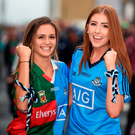 Fans Rachel Burke (left) and Aoife Brady, from Knocklyon, Co Dublin, at the All-Ireland football final at Croke Park Picture: Sportsfile