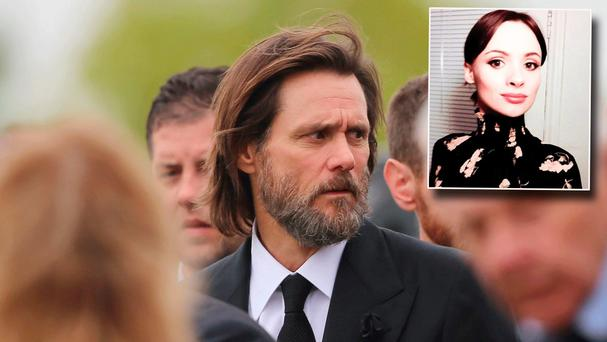 Jim Carrey and inset Cathriona White
