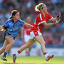 27 September 2015; Valerie Mulcahy, Cork, is tackled by Molly Lamb, Dublin. TG4 Ladies Football All-Ireland Senior Championship Final, Croke Park, Dublin. Picture credit: Ramsey Cardy / SPORTSFILE
