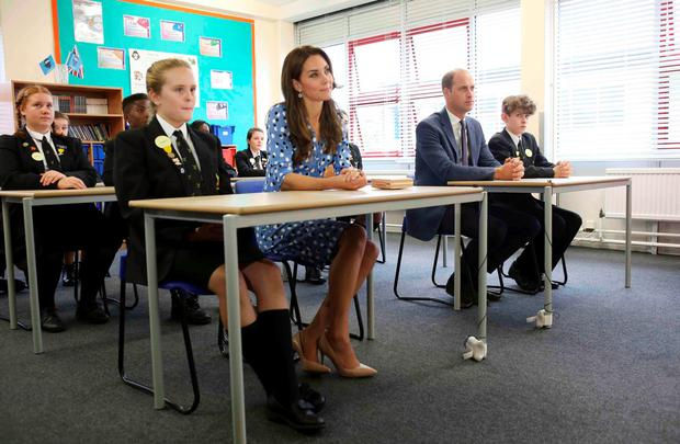 Britain's Prince William and Catherine, Duchess of Cambridge, visit Stewards Academy