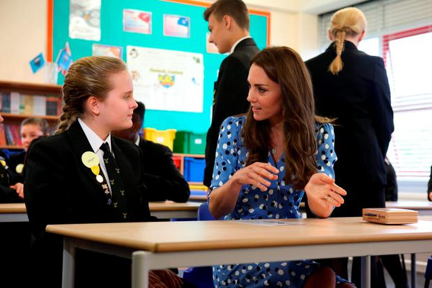 The Duchess of Cambridge sits in on a lesson during her visit to Stewards Academy in Harlow, Essex. Picture: Ian Vogler/Daily Mirror/PA Wire