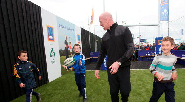 Former Irish Rugby International and munster player Paul O'Connell shows of some of his skills to children at The Aldi Marquee during the National Ploughing Championships 2016 at Screggan, Tullamore, Co Offaly. Photo: Leon Farrell/Photocall Ireland.