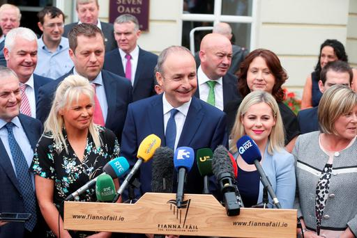 Fianna Fáil Leader Micheál Martin TD addresses the media prior to the annual parliamentary party think-in at the Seven Oaks Hotel, Carlow. Picture Conor McCabe Photography.