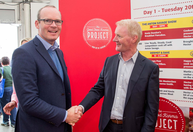 Simon Coveney, Minister for Housing, Planning and Local Government and Ray Kelly, Marketing Director, Musgraves in the SuperValu Good Food Karma Project arena at the National Ploughing Championships. Photo: Conor Healy