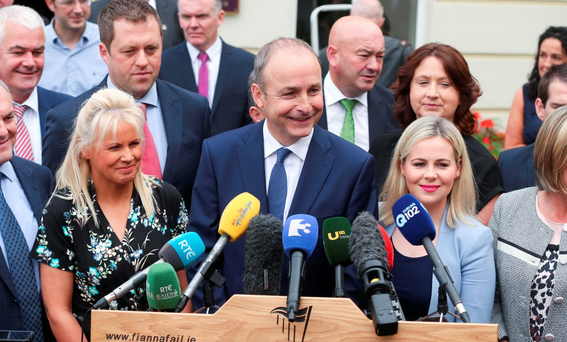Fianna Fáil Leader Micheál Martin addresses the media at the party's annual think-in, at the Seven Oaks Hotel, Carlow this week. Photo: Conor McCabe Photography