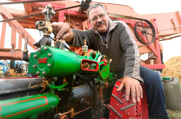 Seamus Banville, from Wexford, with his scale model steam traction engine. Picture; Gerry Mooney
