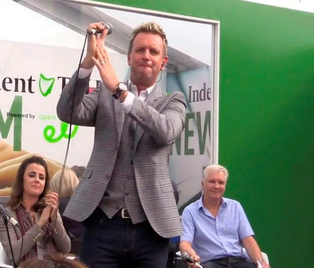 Country star Mike Denver singing in the Farming Independent tent at the Ploughing