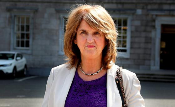 Joan Burton: shoe came off during aggressive protest. Photo: Tom Burke