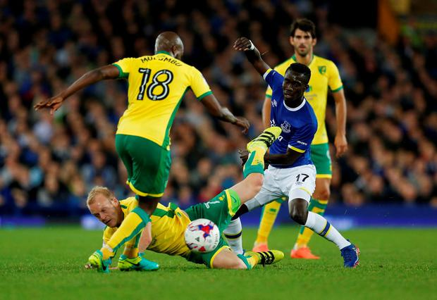 Everton's Idrissa Gueye in action with Norwich City's Youssouf Mulumbu and Steven Naismith Photo: Reuters