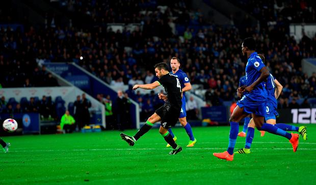 Fabregas of Chelsea scores his side's third goal. Photo: Getty