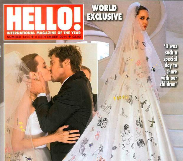 Brad and Angelina's wedding featured on the cover of 'Hello' two years ago.