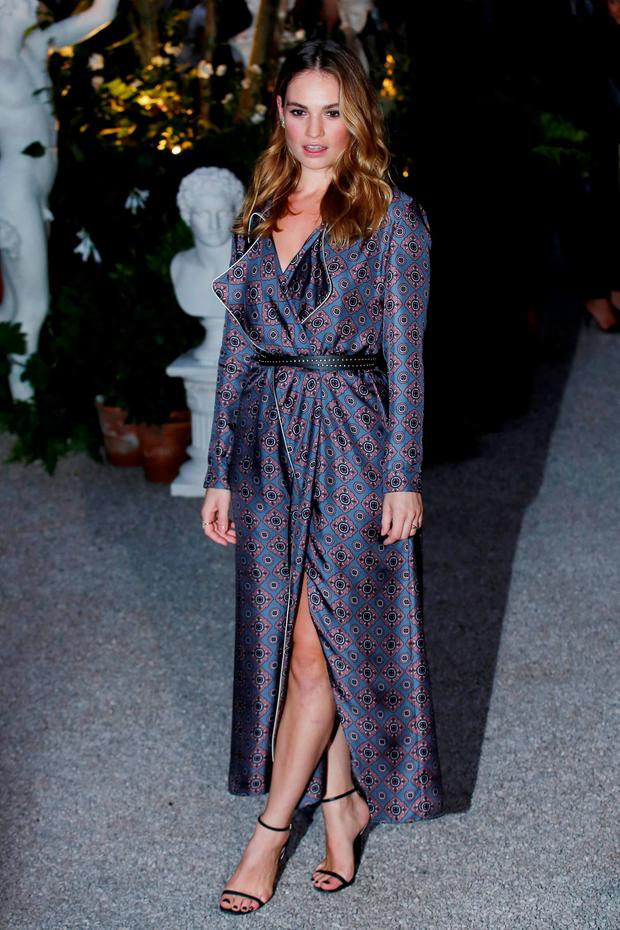 Actress Lily James at the Burberry show at London Fashion Week. Photo: Reuters