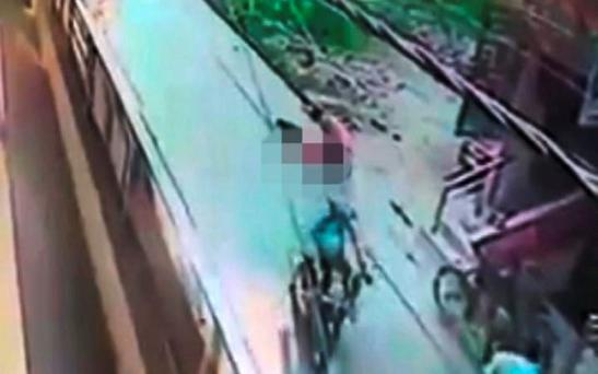A still from the video of the shocking attack on the streets of Delhi