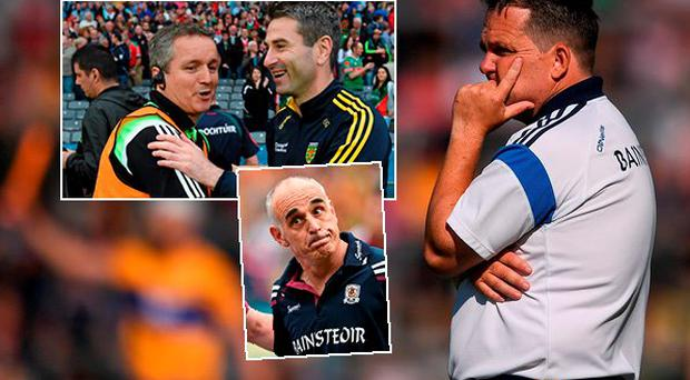 Davy Fitzgerald and (inset top) Pat Holmes and Noel Connelly and (inset below) Anthony Cunningham