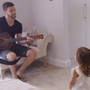 Shane Long and his daughters sing Gavin James' Hello. Photo: Livin' With Lucy / TV3