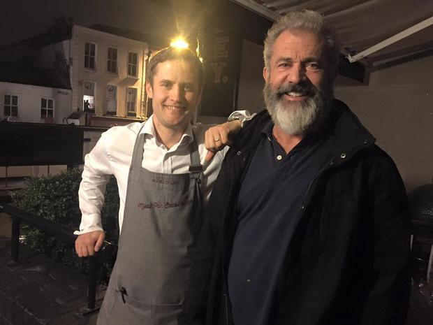 Mel Gibson enjoys a night out in Dublin's FX Buckley Restaurant