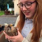 Caoimhe pictured with the lucky kestrel