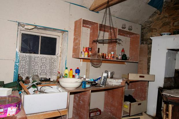 The inside of the house at Derryloughan near Glenties where Denis Donaldson was murdered. (North West Newspix)