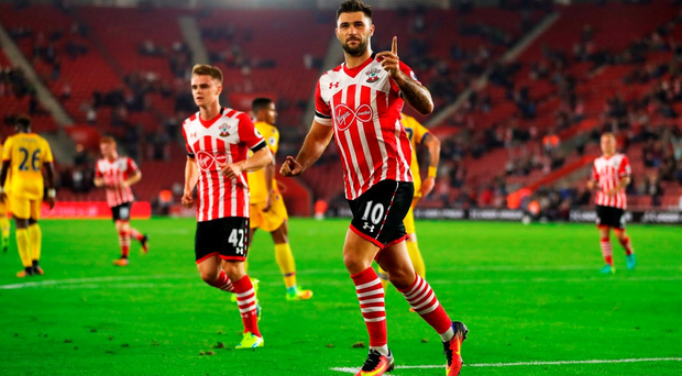 Charlie Austin of Southampton celebrates scoring his sides first goal during the EFL Cup Third Round match between Southampton and Crystal Palace at St Mary's Stadium on September 21, 2016 in Southampton, England. (Photo by Richard Heathcote/Getty Images)