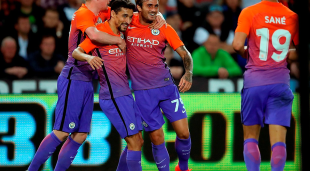 Manchester City's Aleix Garcia celebrates scoring his side's second goal of the game during the EFL Cup, Third Round match at the Liberty Stadium, Swansea. PRESS ASSOCIATION Photo.